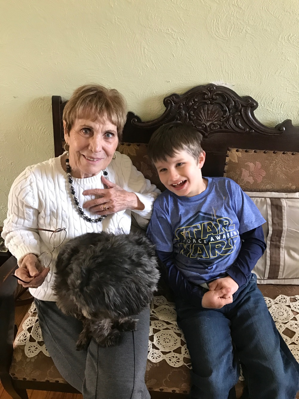 My mom, Koan, and her dog Max